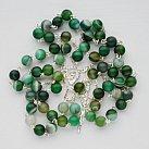 Różaniec srebrny Zielony Agat Matowy