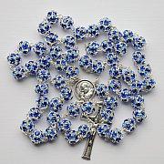 Różaniec z Kryształu Svarowskiego szafirowy