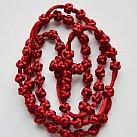 Różaniec sznurkowy bordowy ze sznurkowym krzyżykiem