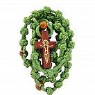 Różaniec sznurkowy zielony krzyżyk