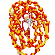 Różaniec sznurkowy czerwono-żółty duży