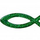 Naklejka rybka na samochód mała brokatowa kolor zielony