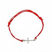 Bransoletka sznurek czerwony srebro