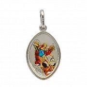 Medalik srebrny Archanioł Michał owal w kolorze