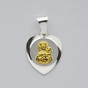 Medalik diamentowany srebrny MB Częstochowska pozłacana