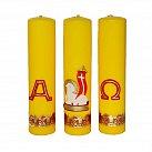 Komplet świec ołtarzowych z wzorem Wielkanocnym żółte
